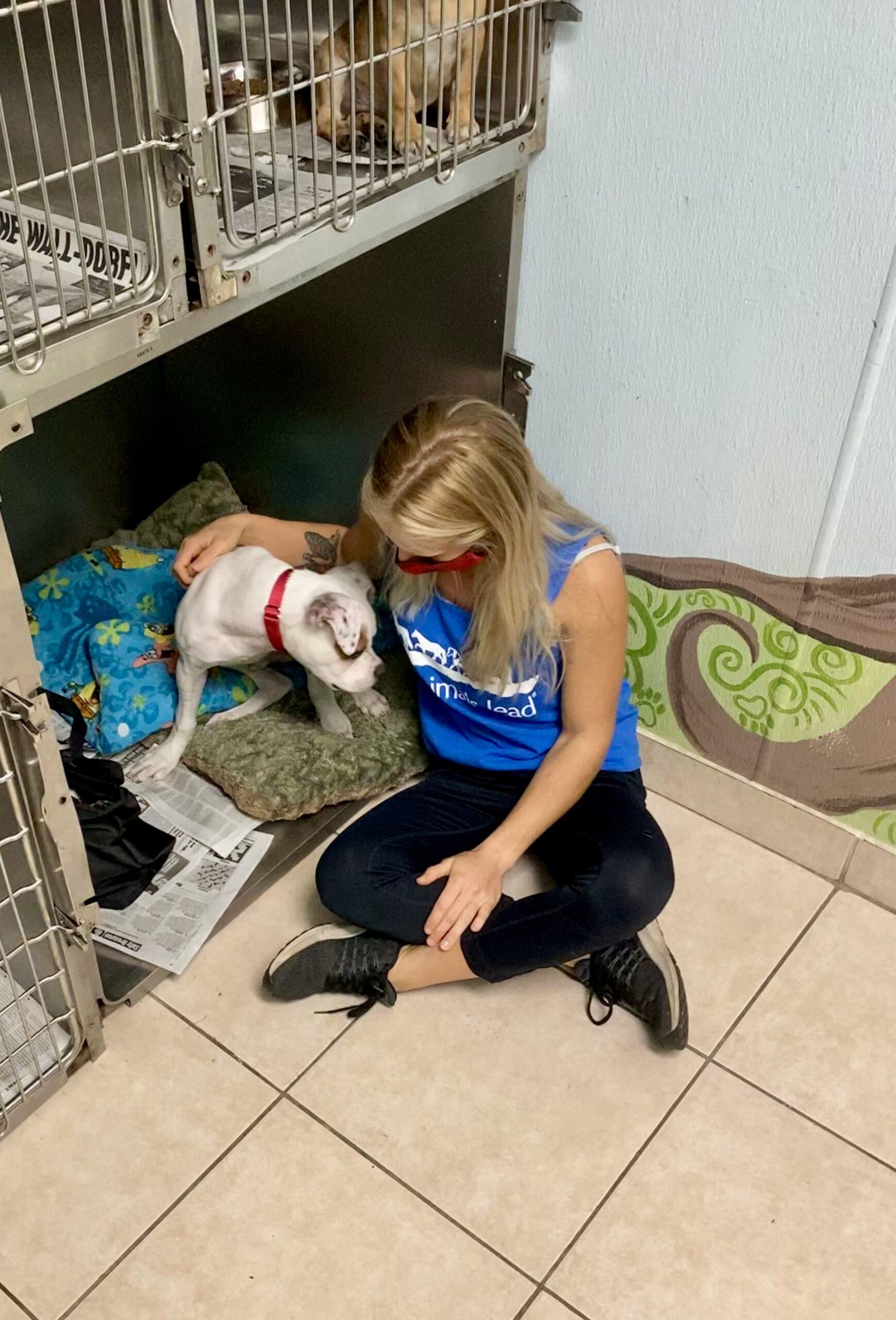 Kala Hall and a dog named brutus