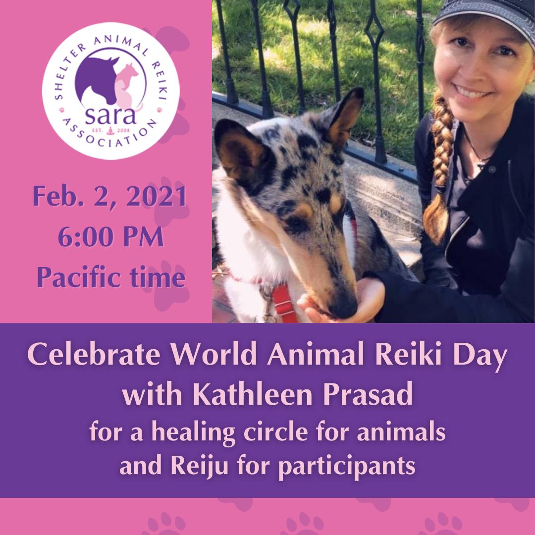 kathleen prasad and her dog vincent offering a world animal reiki day 2021 celebration